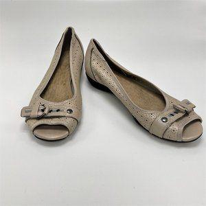 Privo Ivory Metallic Leather Open Toe Flats
